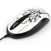 Mouse ModeCom M2 Art Cat mini alb-negru cu model de floricele