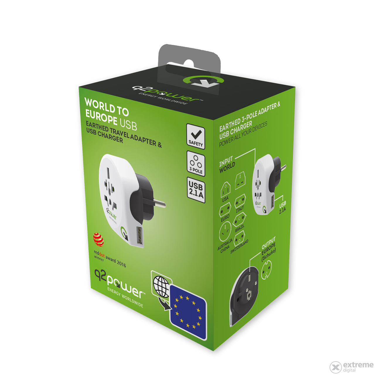 "Q2 Power ""World to Europe USB"" utazóadapter"
