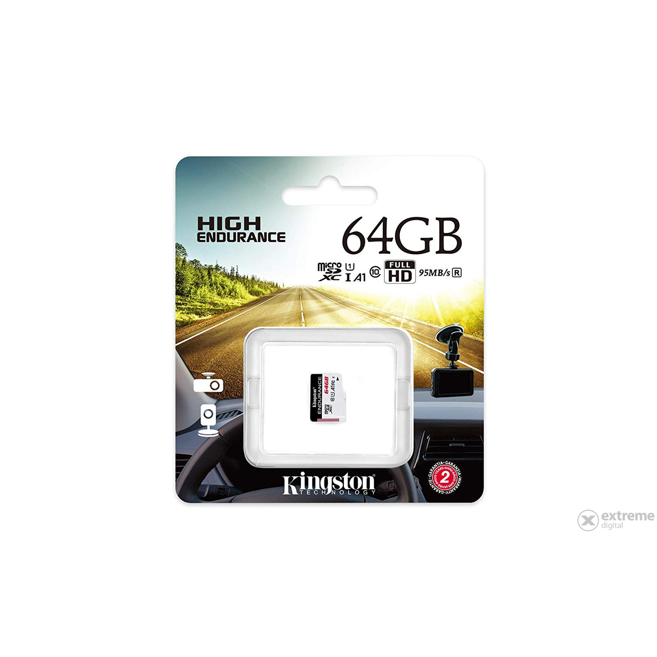 Kingston High Endurance 64GB microSDHC memóriakártya, Class 10, A1, UHS-I (SDCE/64GB)