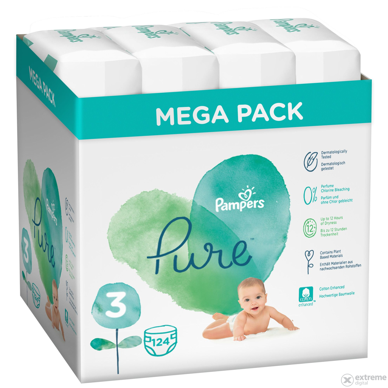 Pampers Pure  pelenka Value Pack 3-as méret, 4x31 db