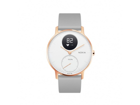 Ceas smart Nokia Steel HR (36mm) Rose Gold, curea gri din silicon