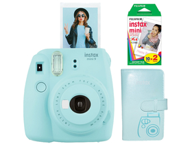 Fujifilm Instax Mini 9 analógový fotoaparát, ice blue + Fujifilm mini film 2x10 ks + Laporta album
