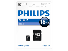 Карта памет Philips 16Gb microSDHC Class10  + adapter