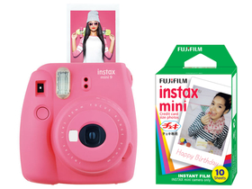 Fujifilm Instax Mini 9 instant camera, flamingo pink + Fujifilm mini film 10db