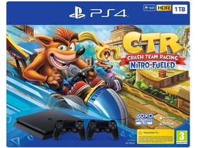 PlayStation® PS4 Slim 1TB konzola + 2kom Dualshock 4 kontroller + Crash Team Racing igra