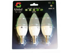 Global gyertya LED izzó (5W 400LM E14  220-240V  ? 50/60Hz), 3db