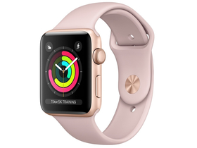 Apple Watch Series 3 GPS, 42mm, Carcasa Gold Aluminium, Pink Sand Sport Band (mql22mp/a)