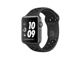 Apple Watch Nike+ GPS, 42mm, astro sivi aluminijast ovitek z antracit-črnim Nike športnim pasom (mql42mp/a)