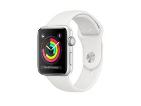 Apple Watch Series 3 GPS, 42mm, srebrno ohišje z belim športnim paščkom