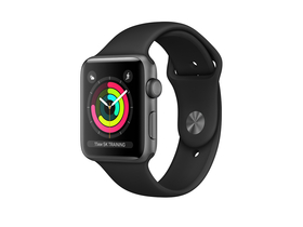 Apple Watch Series 3 GPS, 42mm, astrosivo ohišje s črnim športnim paščkom