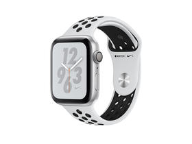Apple Watch Nike+ Series 4 GPS, 44mm, ezüst aluminium tok platinum/fekete Nike sportszíjjal