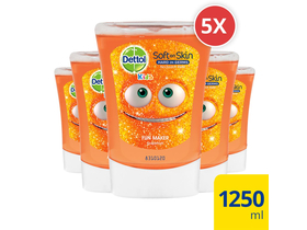 Rezerva Dettol Kids pentru dispensa no touch antibacterial cu aroma de grapefruit, 5x250 ml
