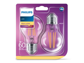 Philips Consumer LED Classic normál gömb izzó,   6-60W A60 E27 827 CL ND 2 pack