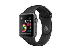 Apple Watch Series 1, 42mm,  carcasa aluminiu space gray si curea neagra (mp032mp/a)