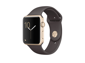 Apple Watch Series 1 auriu, curea sport maro, 42mm (mnnn2mp/a)