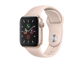 Apple Watch Series 5 GPS, 44mm, Gold, s ružovým remienkom