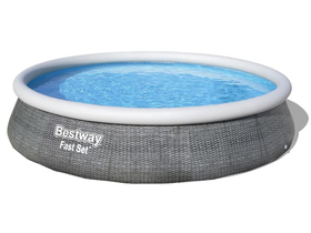 Bestway St Tropez Quick-Up Pool Set, Rattan-Design, 3.96m x 84cm