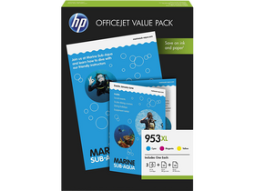HP No 953XL 1CC21AE Officejet Value Pack, CMY + 75 lap A4 papir