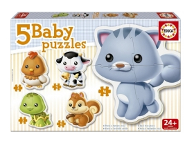 Puzzle Educa Baby animals, 5 in 1