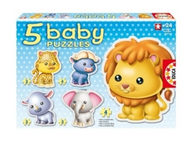 Puzzle Educa Baby wild animals, 5 in 1