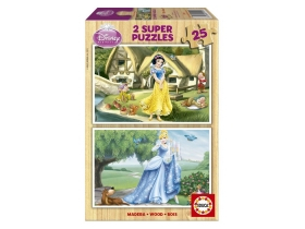 Puzzle Educa Disney Snow White and Cinderella, lemn, 2x25 buc.