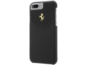 Ferrari iPhone 7 Plus Lusso Hard Genuine Leather Gold Logo hátlap, tok, fekete