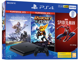 PlayStation® 4 Slim 500GB Spielsoftware, schwarz + Marvel`s Spiderman, Horizon Zero Dawn Complete EditionRatchet&Clank