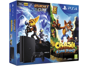 PS4 Slim 500GB konzol + Crash Bandicoot + Ratchet and Clank