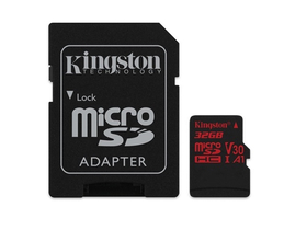 Kingston Secure Digital Micro 32GB Cl10 UHS-I U3 V30 A1 (100/70) Canvas React Speicherkarte (SDCR/32GB) + SD Adapter