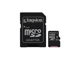 Kingston Canvas Select 64GB microSDXC memóriakártya + SD adapter, Class 10, UHS-I, U1 (SDCS/64GB)