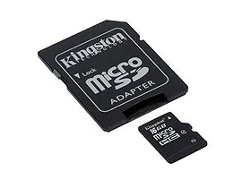 Kingston microSDHC karta 16GB Class4 + SD adapter