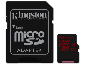 Kingston microSDHC  64GB Class3 + SD adapter