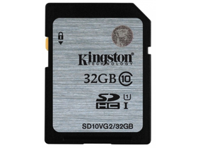 Kingston Secure Digital 32GB Cl10 UHS-I U1 memóriakártya (SD10VG2/32GB)