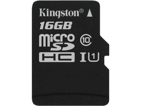 Kingston Secure Digital Micro 16GB SDHC Class10 memóriakártya Single Pack w/o adapterrel