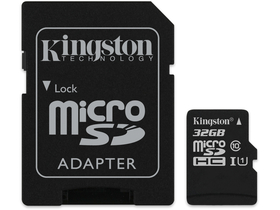 Kingston Secure Digital Micro 32GB SDHC Class10 memóriakártya + SD adapter