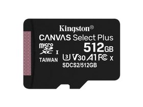 Kingston Canvas Select Plus 512GB micro SDXC memóriakártya, Class 10, A1 (SDCS2/512GBSP)