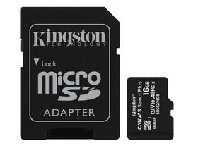 Kingston Canvas Select Plus 16GB MicroSDHC paměťová karta + SD adaptér, class 10