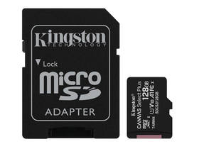 Kingston Canvas Select Plus 128GB microSDXC memóriakártya, + SD adapter, class 10