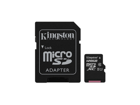 Card de memorie cu adaptor Kingston Canvas Select microSDXC 128GB Class 10 UHS-I (80/10)