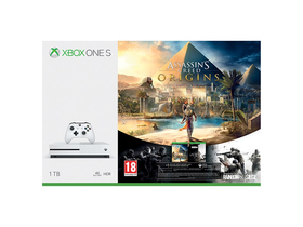 Xbox One S 1TB igralna konzola, bela + Assassins Creed Origins + Rainbow 6 Siege