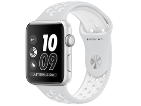 Apple Watch Nike+, 38mm toc argintiu, curea argintiu-alb  Nike  (mq172mp/a)