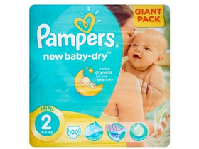 Scutece Pampers New Baby-Dry  2 Mini 100 buc.