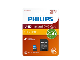 Philips 256GB microSDXC Speicherkarte + SD Adapter, Class 10, UHS-I, U3