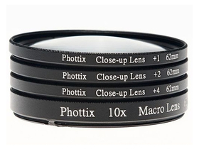 Комплект макро лещи  Phottix +1,+2,+4,10x,77mm