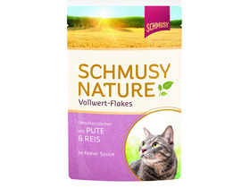 Schmusy Nature Vollwertflakes alutasakos macskaeledel, pulyka+rizs, 100g (FN70002)