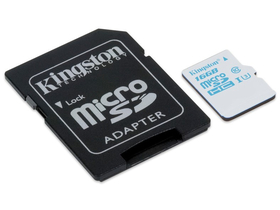 Kingston Secure Digital Micro 16GB UHS-i U3 + SD adapter sportkamerákhoz és drónokhoz