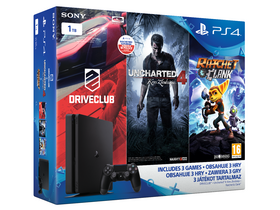 PlayStation® PS4 Slim 1TB Családi csomag Uncharted 4, Drive Club és Ratchet and Clank szoftverekkel