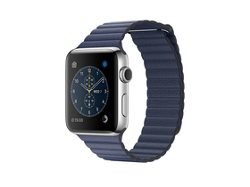 Apple Watch Series 2, 42mm Stainless Steel Case with Midnight Blue Leather Loop - Medium (mnpw2mp/a)