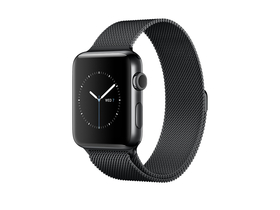 Apple Watch Series 2, 38mm Space Black Stainless Steel Case with Space Black Milanese Loop (mnpe2mp/a)