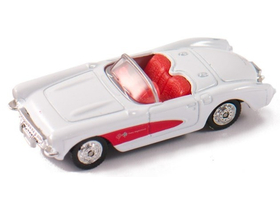 Welly Chevrolet Corvette 1957 model auta, bílá 1:60-64